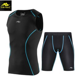 Wholesale Tight Suits Vest - TRYSIL 2017 Summer New Sports Tights Suit Male Fitness Suits Quick Dry High Elastic Compression Vest Shorts Sets