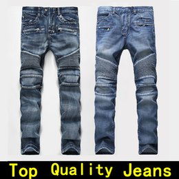 Wholesale Purple Long Pants - Mens jeans Men Designer jeans Distressed Motorcycle biker jeans sizes 28 42 Rock revival Skinny Slim Ripped hole Straight Men's Denim pants
