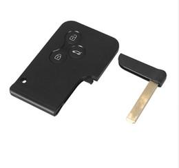 Tarjeta de clave de renault shell online-Tarjeta inteligente de 3 botones para Renault Clio Logan Megane 2 3 Funda de la tarjeta Scenic de Koleos Llave USB de la llave del coche con llave pequeña