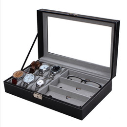 Wholesale Gift Boxes Windows - Brand New PU Watch Boxes Jewelry Watch Glasses Display Box Glass Window Jewelry Accessories Storage Organizer Box Brithday Gifts