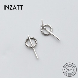 punk minimalist Coupons - INZATT Minimalist Authentic 925 Sterling Silver Geometric Twist Round Punk Stud Earrings For Women Party Fine Jewelry Best Gift