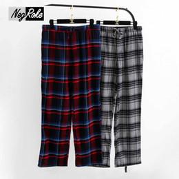 Wholesale Pajamas Sale - Wholesale-Hot sale Spring 100% cotton male sleep bottoms comfort Casual mens sleepwear trousers plaid pijamas mens sheer pajamas