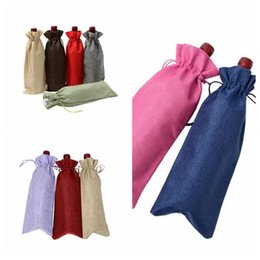 Wholesale wine bottles gifts covers - Colorful Jute Wine Bottle Covers Champagne Bottle Drawstring Bag Christmas Wedding Party Wine Bags Gift Pouches Party Favor CCA9749 120pcs