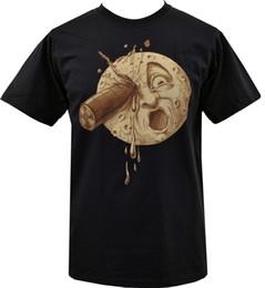 Хлопковый деко онлайн-Поездка на Луну старинные арт-деко научно-фантастический Луна немого кино S-5XLMens 2018 модный бренд футболка О-образным вырезом 100%хлопок футболки
