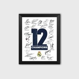 2019 fußball bilderrahmen Königliche Los Blancos 12. 13. Europäische Champions League Krone Fußballfans Autogramm Poster Foto Bilderrahmen Ramos Dekoration günstig fußball bilderrahmen