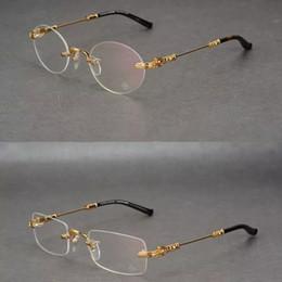 Gafas de corazón masculino online-Nuevo corazón de cuervo sus monturas sin montura marcos de anteojos cuadrada marea redonda gafas de miopía masculinas monturas de gafas monturas de gafas