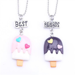 Wholesale Ice Cream Hearts - 12pair lot best friends necklace silver tone beautiful ice-cream stick with heart charm BFF pendant necklace Children's day gift