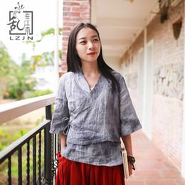 Wholesale hanfu women - LZJN Half Sleeve Ladies Kimono Blouse 2018 Summer Tops for Women Traditional Chinese Clothing Hanfu Side Slit Ramie Gray Shirt