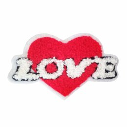 4a85ad66ec5d hand sewing patches UK - Terry cloth patch Loving heart appliques sweater  knitting overcoat hand sewing