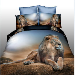 Wholesale Queen Pillow Covers - Wholesale-3d animal bedding set tiger lion duvet doona cover bed sheet pillow cases 4pcs queen size velvety bedclothes