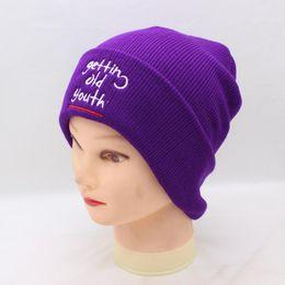 Sombreros de gorro púrpura online-BING YUAN HAO XUAN Invierno Cálido Beanie Mujeres Nuevo Bordado Púrpura Turbante Sombreros de Punto Sombrero de Esquí Crochet Cap Gorros Accesorios