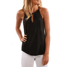 6151f0d8ca4 asymmetrical tank top Promo Codes - Women Tank Top Fashion Solid O-neck Hollow  Out