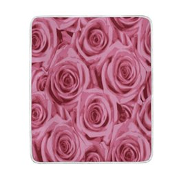 Wholesale romantic king bedding - Romantic Pink Rose Blanket Soft Warm Cozy Bed Couch Lightweight Coral Fleece Blanket Throw for Kids Women Boy