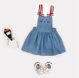 Wholesale New Skirts Denim Fashion - Girl children's clothing denim strap skirt spring and summer new retro cat embroidered skirt adjustable shoulder strap wholesale