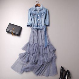 Wholesale Sequin Half Sleeves Tops - Half sleeve Jeans top patchworked Long Grenadine dress New Style Letter Sequins Upper with wristband Maxi Tiered Skirt Long ruffle dress