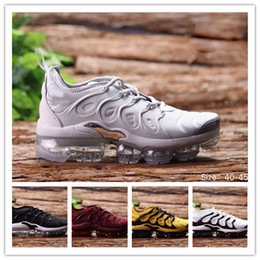 Wholesale Tn Sneakers - Vapormax TN Plus Running Shoes 2018 Men Casual Triple Black Olive Metallic White Silver Sport Athletic Sneakers Hiking Jogging Shoes 40-45