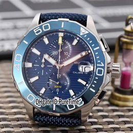 Wholesale calibre 16 black dial - Aquaracer 300M Calibre 16 CAY218A.FC6361 Steel Blue Aluminum Bezel Dial Miyota Quartz Chronograph Mens Watch Nlyone Blue Line Stopwatch 159c