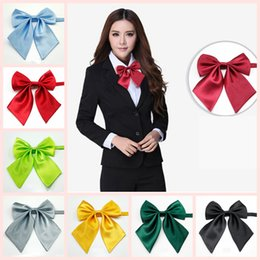 Wholesale hotels business - Women Silk Butterfly Bowtie Lady Girls Satin Formal Bow Tie Neckwear Party Banquet Solid Adjustable Necktie Party Hotel Bank Students AAA138