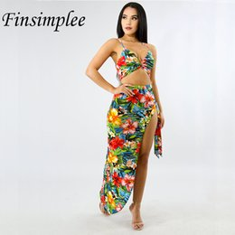 584b76a78fea Summer Bohemian Style 2 Piece Set Print Floral Beach Wear Sleeveless Crop  Top Spaghetti Side Split Bandage Skirt Sets Two Piece