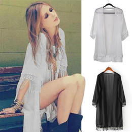 wholesale kimonos Coupons - NEW solid color kimono Shirts Loose fringe kimono cardigan Long Chiffon blouse open cardigans for women