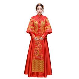 Roupas senhoras chinesas on-line-Bordado Vermelho do vintage Cheongsam Vestido De Casamento Vestidos Qipao Chinês Tradição Das Senhoras Robe Oriental Dragão Phoenix Roupas