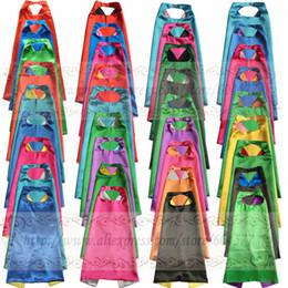 fantasia de princesa de princesa amarela Desconto Capes com máscara REVERSIBLE Dois colorido criança cape favor de festa de aniversário de cetim sólida capes meninos meninas cetim