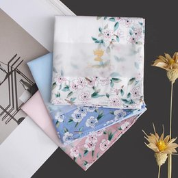 Wholesale Orange Silk Handkerchief - Handkerchief cotton ladies silk flowers handkerchief married cotton towel female cotton fine baby children's cherry blossoms handkerchief