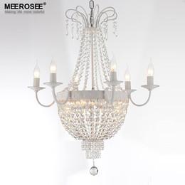 Araña de cristal del imperio francés online-Vintage French Empire Crystal Chandelier Light Fixture Vintage Crystal Lighting Hierro forjado Blanco Cromo Color negro