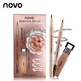 NOVO Mode Crayon À Sourcils Set Étanche Maquillage Marron Marron Avec 3pcs mine de crayon + 3pcs Eye Browser Modèle Longue Durée 4 Couleurs ? partir de fabricateur