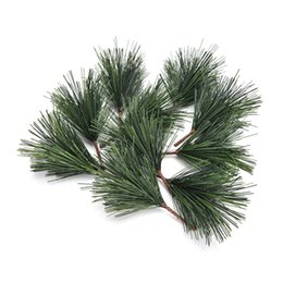 needle tree Promo Codes - 10 Pcs lot Artificial Pine Needles Mixed Branchs Christmas Ornament Supplies Xmas Tree Decor Needle
