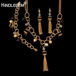 bisutería vintage Rebajas Gemlegem Fashion Beads Costume Women Jewelry Sets Vintage High Quality Dubai Brand Fashion Pure Gold Color Crystal Jewellry
