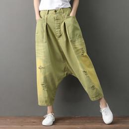 bbf5726c23a Baggy Harem Jeans Women Japanese Ripped Hole Denim pants Wide Leg Drop  Crotch Trousers hip hop streetwear Boyfriend Bloomers YT0