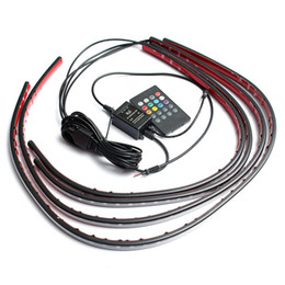 Wholesale Led Neon Kits - 4x Waterproof RGB 5050 SMD Flexible LED Strip Under Car Tube Underglow Underbody System Neon Light Kit W  Remote Control DC 12V