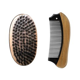 Wholesale massage fish - Boar Bristle Hair Beech Wood Militery Palm Brush with Fish Shape Green Sandalwood Buffalo Horn Pocket Hair Beard Comb Hair Grooming Tool
