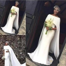 Wholesale Winter Capes For Wedding Dresses - 2018 Modern Satin Mermaid Wedding Dresses for Black Girl With Cape Zipper Back Arabic Bridal Dress Wedding Gowns ba7672