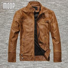 Wholesale Men Brown Leather Jackets - Black Brown retro PU leather jacket men autumn fleece lining motorcycle jacket coat chaqueta moto hombre veste cuir homme LT083