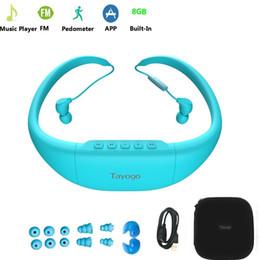 водонепроницаемые наушники bluetooth Скидка Tayogo Bluetooth водонепроницаемый MP3-плеер наушники с шагомер радио FM подводный 8G IPX8 MP3 музыкальный плеер для плавания Спорт