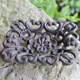Fiori di ferro rustico online-4 pezzi in ghisa fioriera sapone portasapone piatto rustico pittura design casa cucina igienici arredamento in metallo per casa ufficio negozio negozio