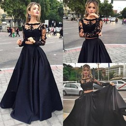 Wholesale Long Sheer Dresses For Cheap - 2017 Modest Two Pieces Prom Dresses Sheer Long Sleeves Appliques Lace Top Black Sexy Cheap Evening Party Pageant Occasion Dress for Woman