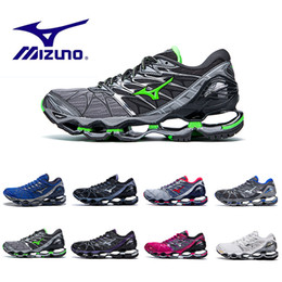 Wholesale new wave fashion - 2018 New Mizuno Wave Prophecy 7 Running Shoes Buffer fashion Men's women Originals Top Quality Sport Sneakers Shoe grayish violet Size 36-45