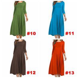 384118e74e86f Women Casual dress Solid Color Plus Size Dress Girl Female Three Quarter  Sleeve O-Neck dress Spring Autumn cloth