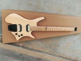 Canada Usine en gros GYHL-0004 couleur bois d'origine tigre rayures couvrent matériel noir EMG pickup guitare électrique sans tête, livraison gratuite Offre