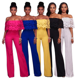 2019 pantaloncini in peplum 2018 Hot Ladies Evening Party Long Tuta Off the Shoulder Tute Playsuit Allentato Harem Pagliaccetti Pagliaccetti Pantaloni In Stock FS2663