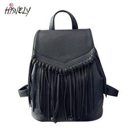 Wholesale College Korean Backpack - Wholesale- New fashion backpack women Backpack Unisex Casual Style School Bag Shoulder Bags Feminine College Tassels Retro
