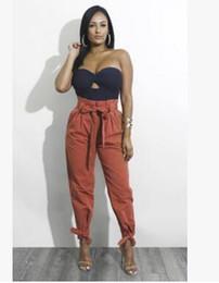 2019 сексуальные горячие женщины 2018 весна мода женская новый сплошной цвет бандаж с бантом высокой талией свободные дикие случайные брюки корсет карандаш брюки ноги брюки