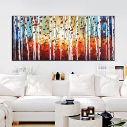 Famosas pinturas al óleo del paisaje online-Pintura al óleo hecha a mano del arte decorativo de la lona pinturas famosas en las pinturas de la lona para el extracto del árbol del paisaje de la pared de la sala