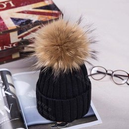 Wholesale Mink Fur Yarn - pom pom hat women mink and fox fur ball winter hat for girl knitted beanies cap thin female Leisure outdoor skull caps