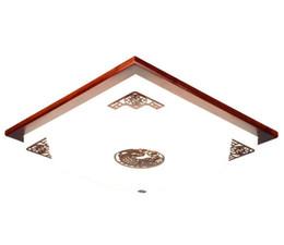 Plafonniers chinois en Ligne-Nouvelle lampe de plafond led en bois chinoise Lampe de plafond chinoise salon carré chambre lampe acajou lampe de chambre
