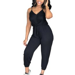 2e436e42abf 2018 New Arrivals Black Gray Spaghetti Rompers Womens Striped Long Pants  Bandage Rompers Womens Jumpsuit Overalls