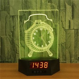 Wholesale Aa Base - Long LED Base with Clock 7 RGB Lights IR Remote 16cm Long Slot for Acrylic Plate AA Battery and USB Powered Factory Wholesale